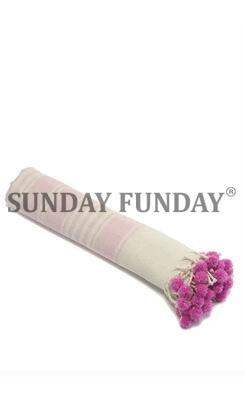 SundayFunday - POMPOM PEŞTEMAL PLAJ HAVLUSU FUŞYA