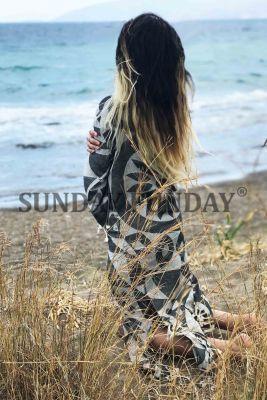 SundayFunday - SİYAH JAKARLI KİMONO