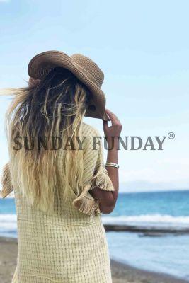 SundayFunday - SARI EL DOKUMA KİMONO